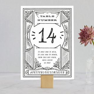 Ink Detailing Frame Wedding Table Numbers