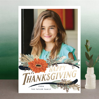 Straw Flower Swoops Foil-Pressed Thanksgiving Cards