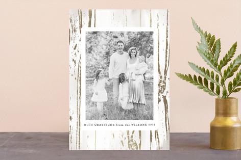Gilded Woodgrain Foil-Pressed Thanksgiving Cards