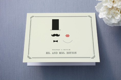 Stache + Kiss Thank You Cards