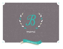Laurel Wreath Monogram Thank You Cards