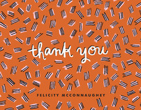 Hatch Mark Pattern Thank You Cards