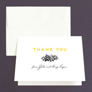 Bouquet Monogram Folded Thank You Card