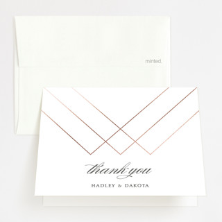 Elegantly Lined Foil-Pressed Thank You Cards