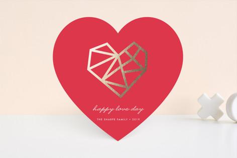 Geo Heart Foil-Pressed Valentine Cards
