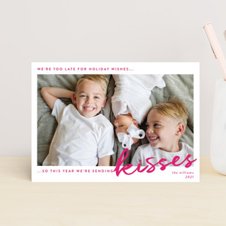 We're Sending Kisses Valentine's Day Postcards