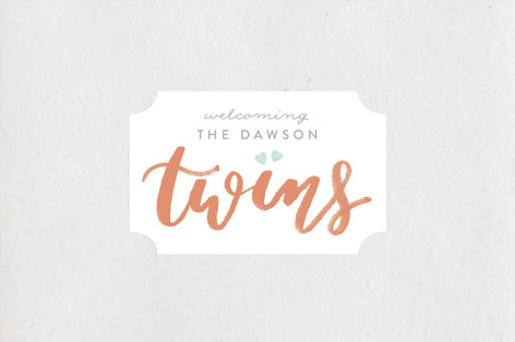 twice the love Baby Shower Stickers