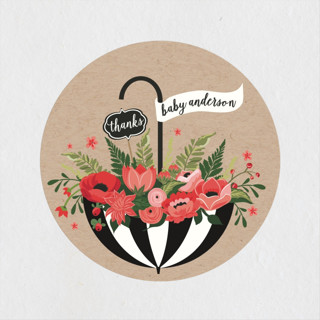 Umbrella Bouquet Baby Shower Stickers