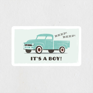 vintage baby truck Baby Shower Stickers