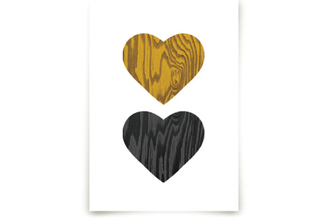 Wood Grain Hearts Art Prints