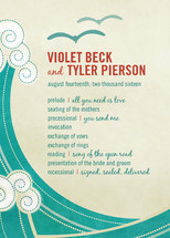 BLOCK PRINT WAVES Wedding Programs