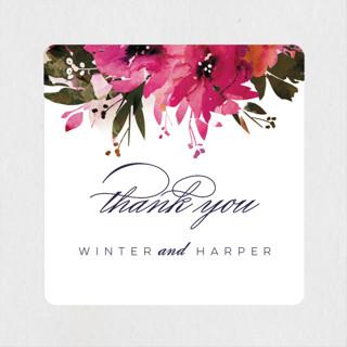 Peeking Florals Wedding Favor Stickers