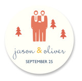Two Grooms Destination Wedding Favor Stickers