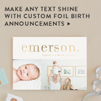 Baby & Kids Nav Ad: Custom Foil Birth Announcements