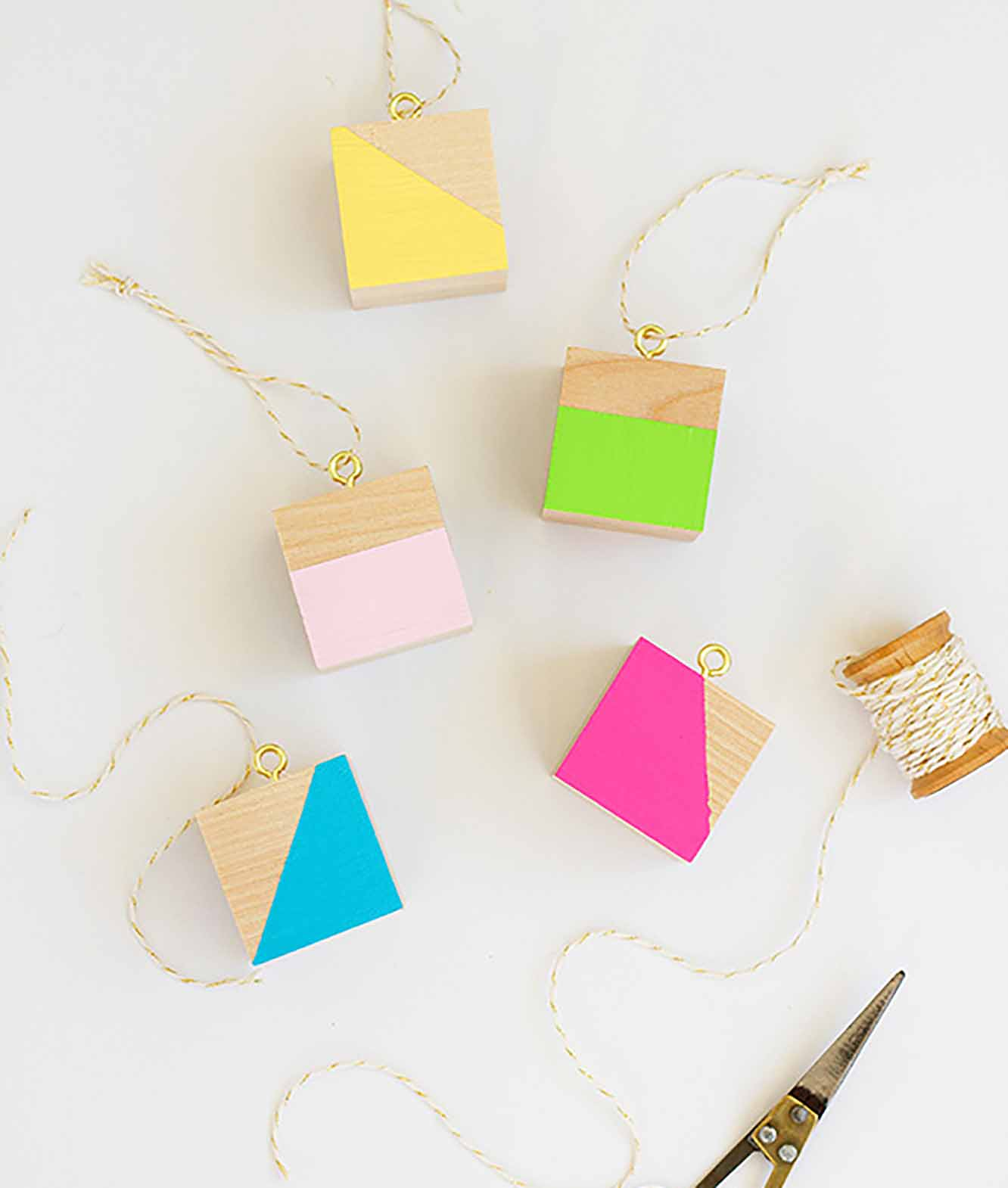 Colorful Wood Block Ornaments
