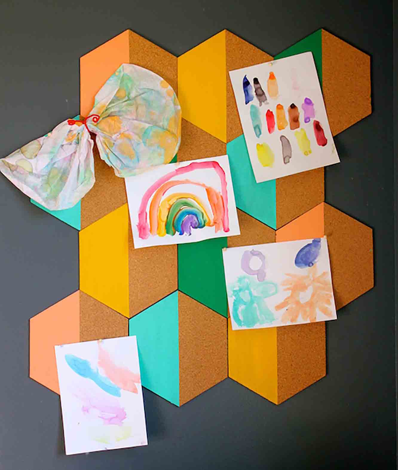 Painted Hexagon Corkboard
