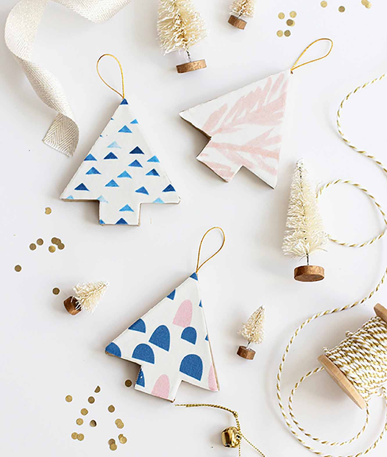 Fabric-Covered Christmas Tree Ornaments