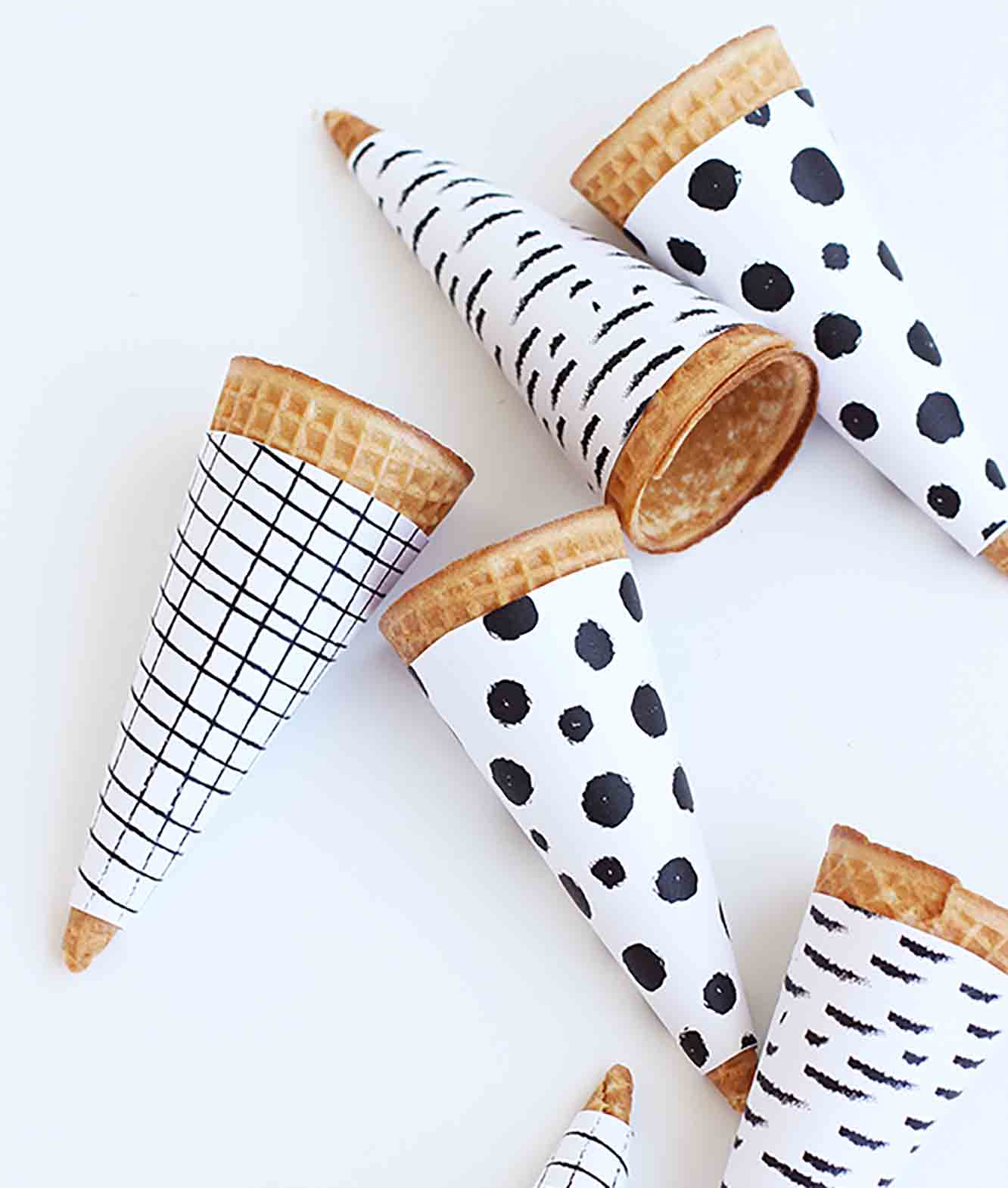 Printable Black and White Ice Cream Cone Wrappers
