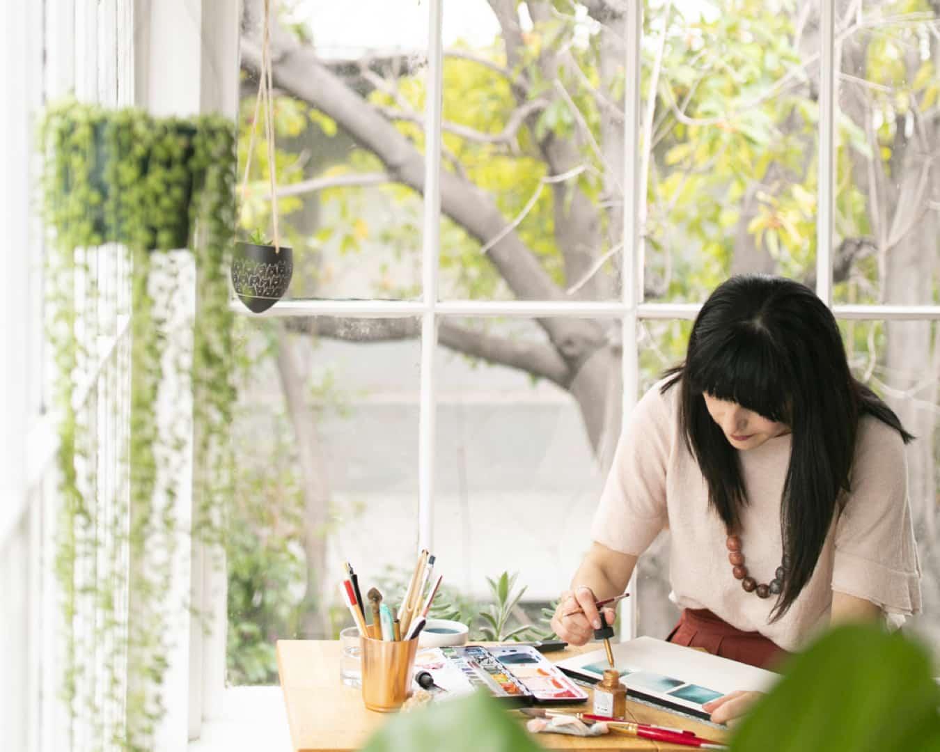 Minted artist Aspacia Kusulas in her studio.