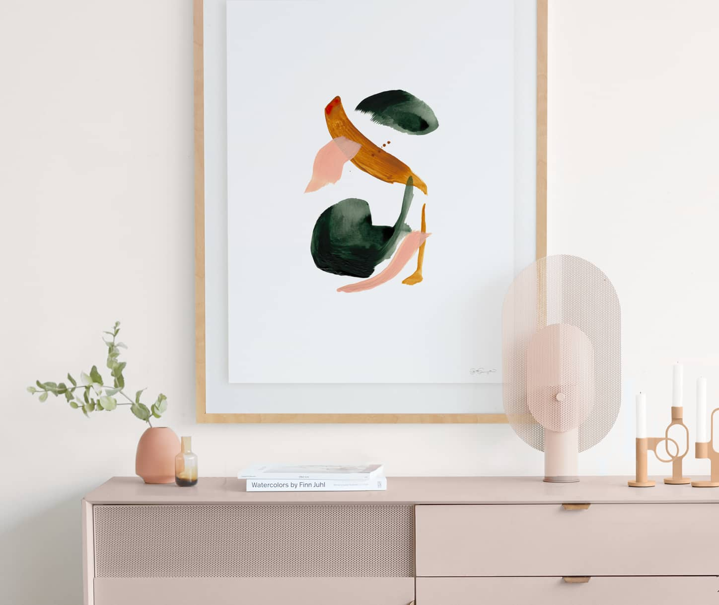 Float mounted art on a wall