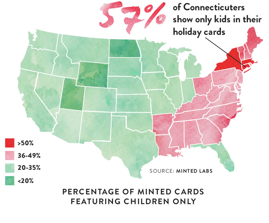 Map (image): Percentage of Minted Cards featuring Children Only