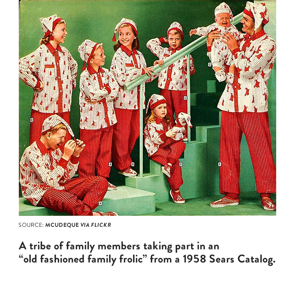 """A tribe of family members taking part in an """"old fashioned family frolic"""" from a 1958 Sears Catalog."""