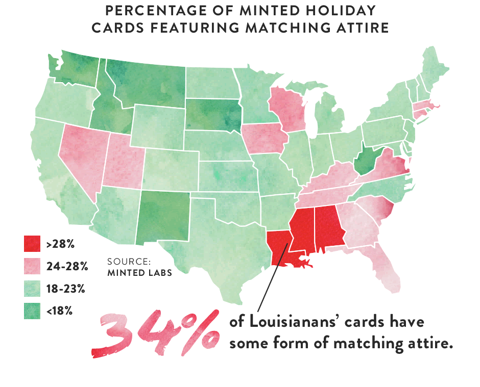 Map: Percentage of Minted Holiday Cards featuring Matching Attire