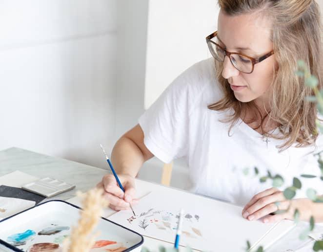 Minted artist, Eve Schultz, at work