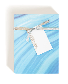 Blue Agate Wrap, Dotted Foil Tag, Silver Glitter Ribbon