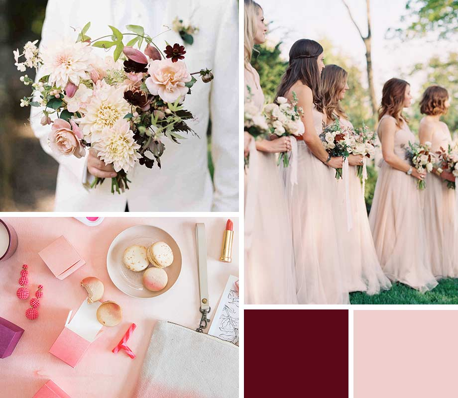 Blush + Burgundy wedding palette inspiration