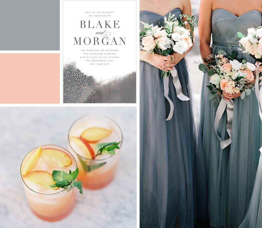Peach + Gray wedding palette inspiration