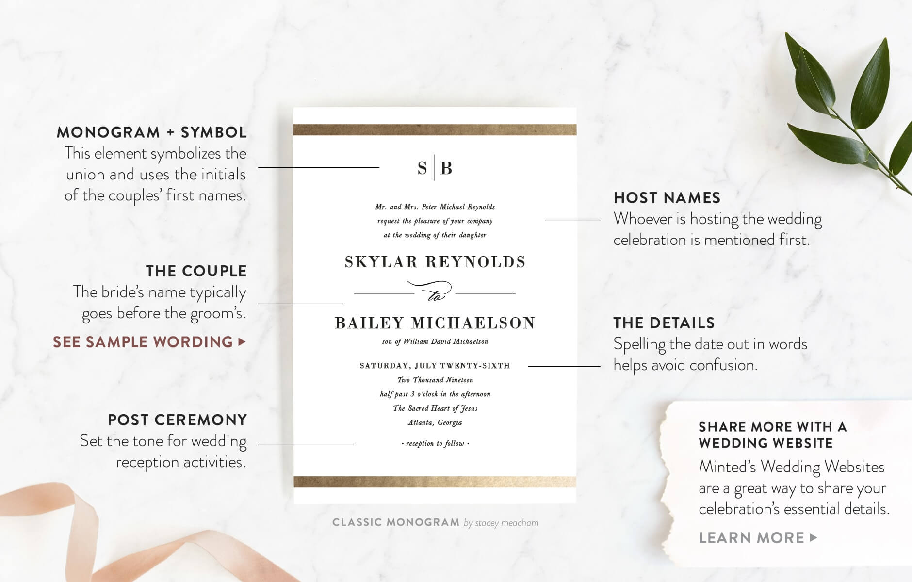Wedding Reception Invitation Wording.Wedding Invitation Wording Etiquette Minted