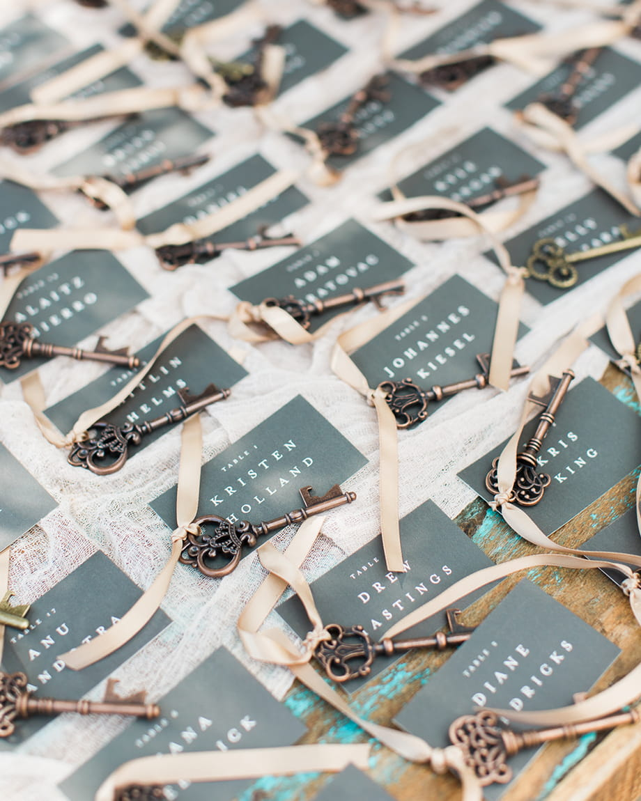 place cards with keys