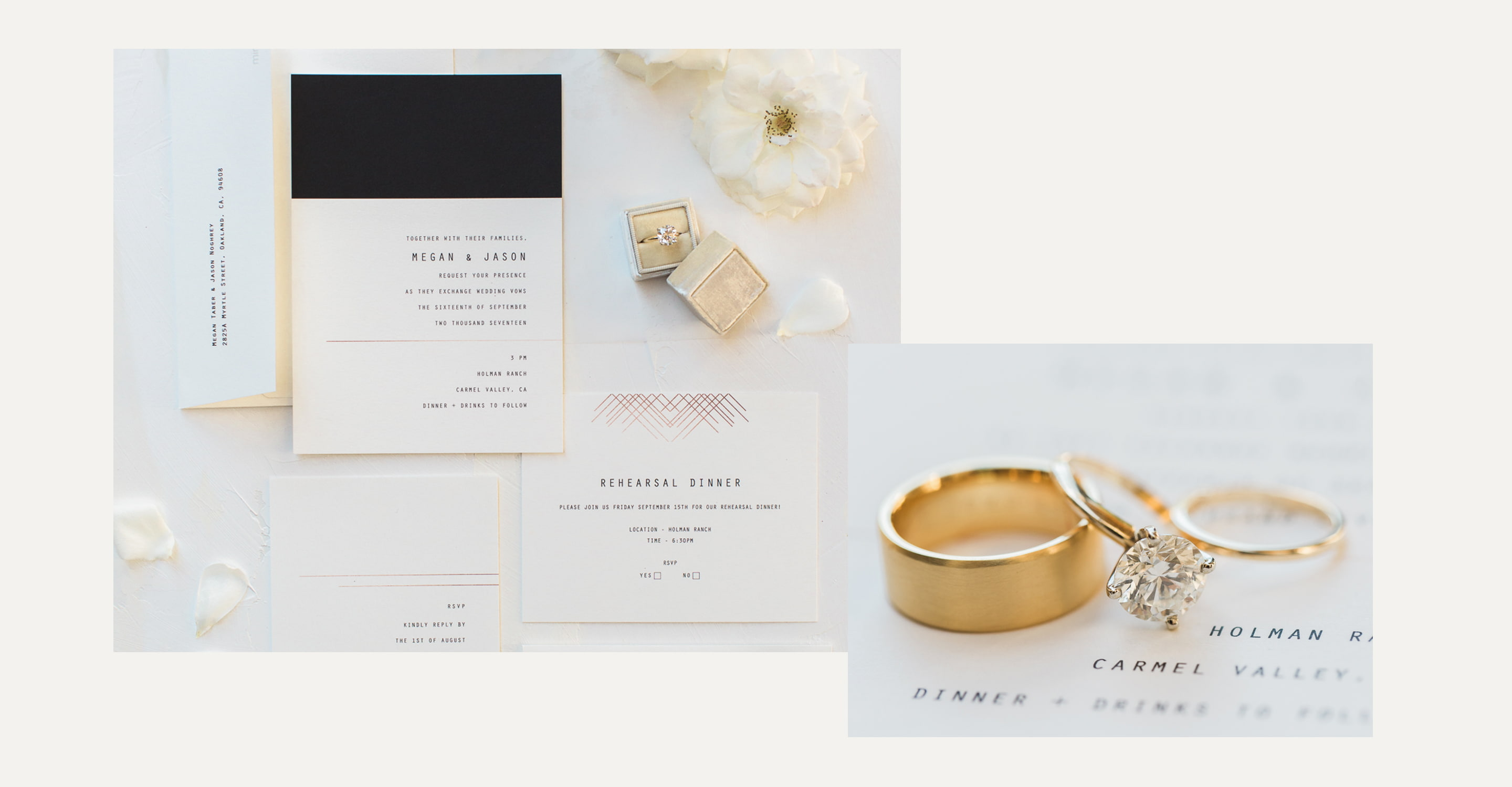 Minted Real Weddings: Megan and Jason wedding invitations