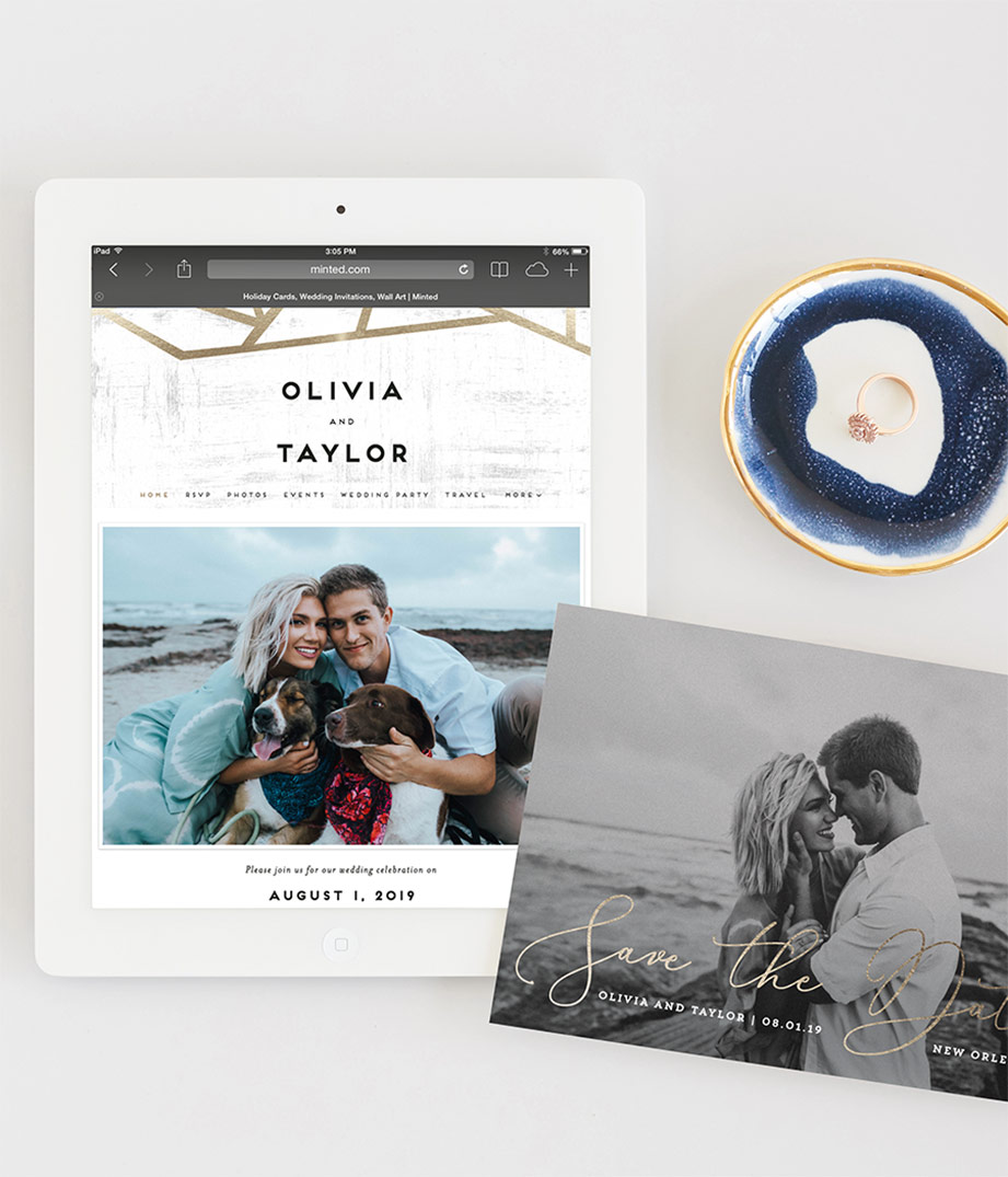 wedding website and save the date card