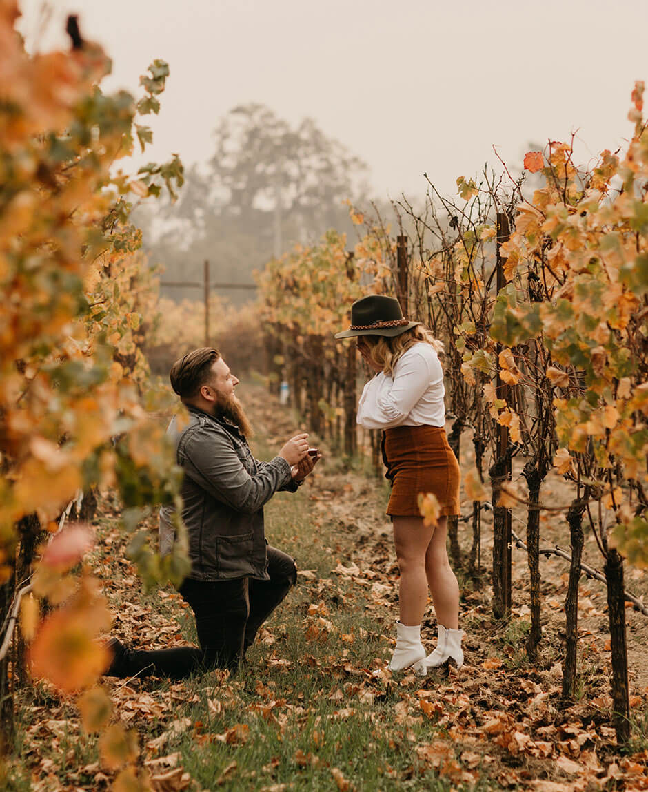 wedding proposal in vineyard