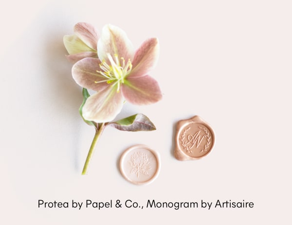 Protea by Papel & Co., Monogram by Artisaire