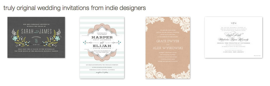 Truly original wedding invitations from indie designers.