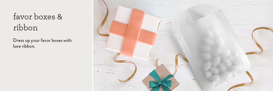 favor boxes & ribbon