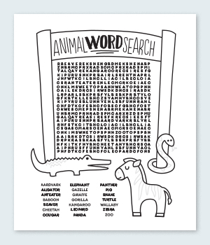 Animal Word Search Coloring Pages Printable