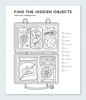 Lunchbox Hidden Objects Coloring Pages Printable