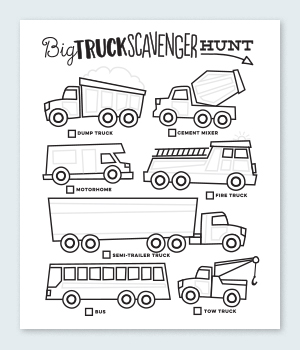 Truck Scavenger Hunt Coloring Pages Printable