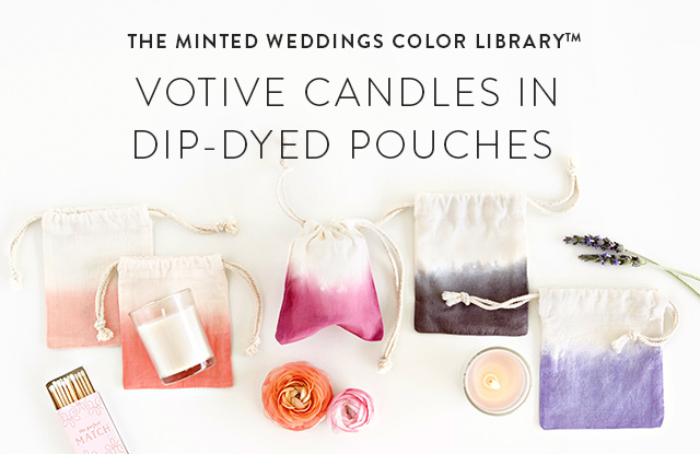 votive candle with Dip-Dyed Pouch