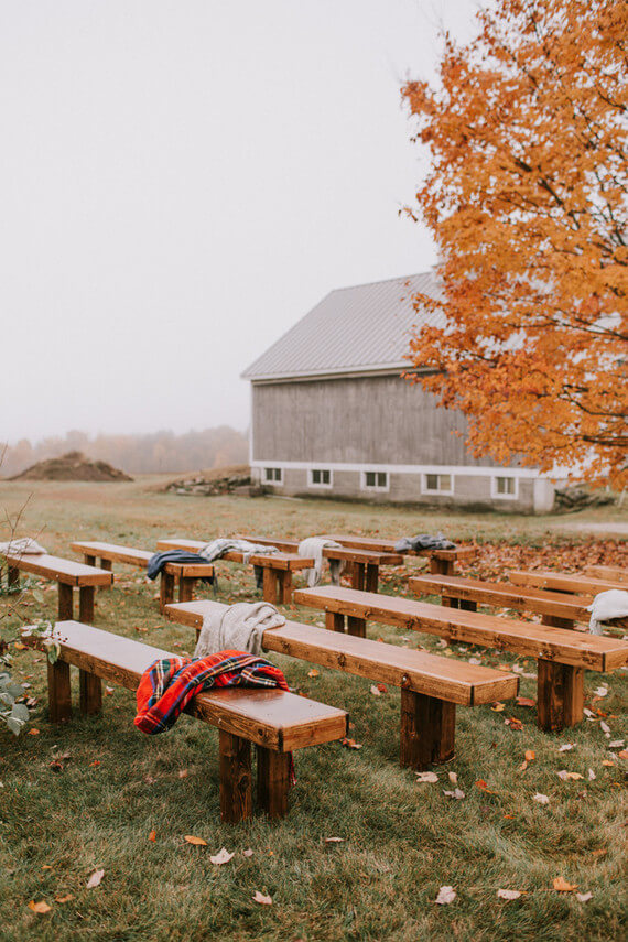 Benches in fall setting