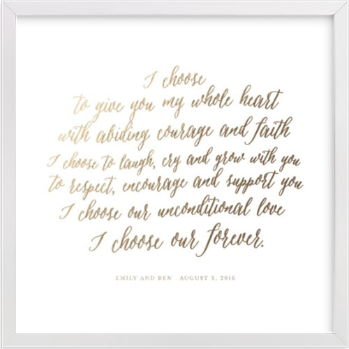 Your Vows as a Foil Art Print