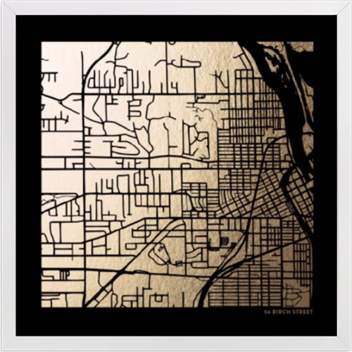 Custom Map Foil-Pressed Art on Black Paper