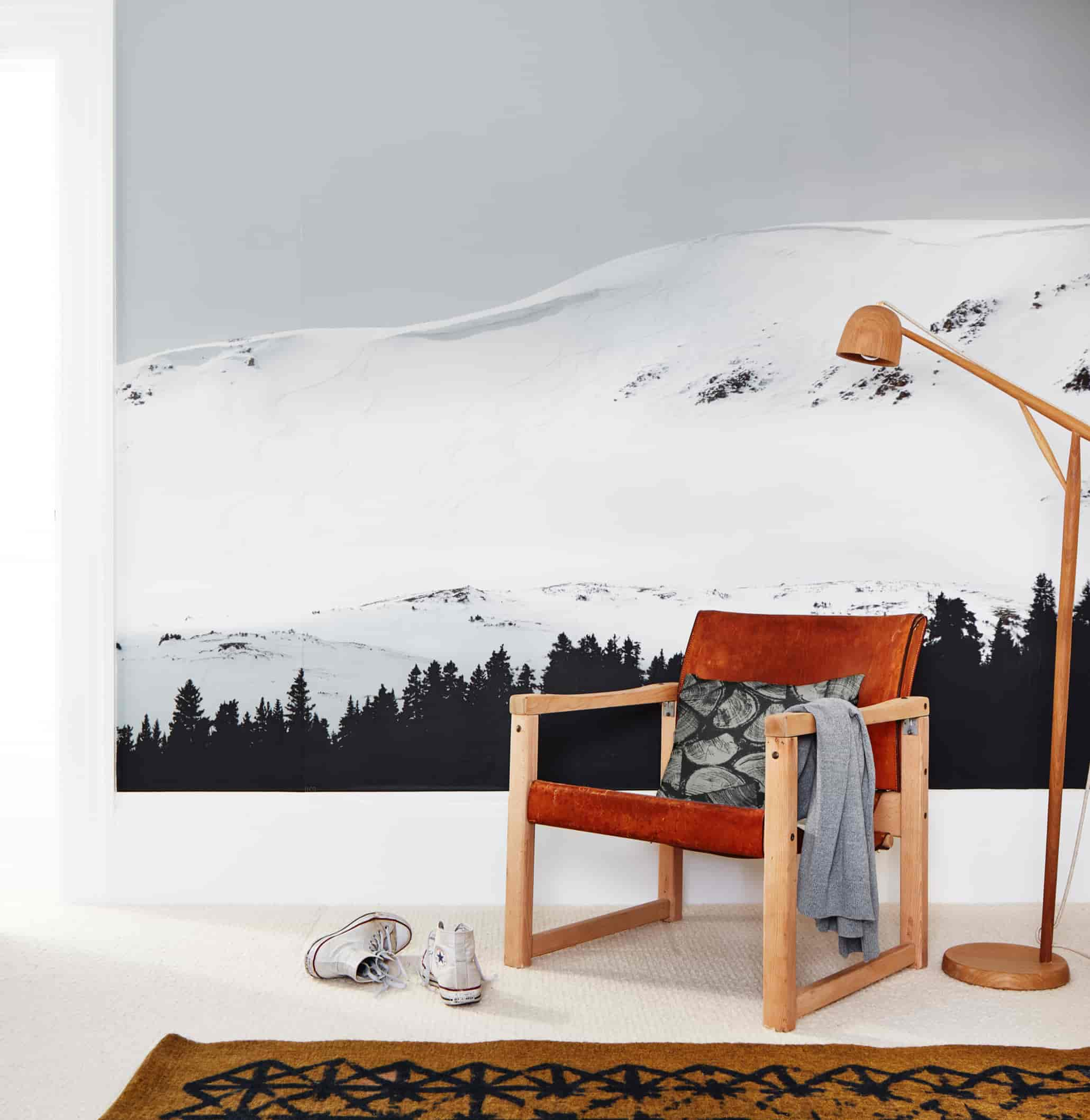 Mountain art print with chair