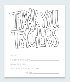 Thank You, Teachers Coloring Pages Printable