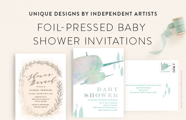 Foil Stamped Baby Shower Invitations