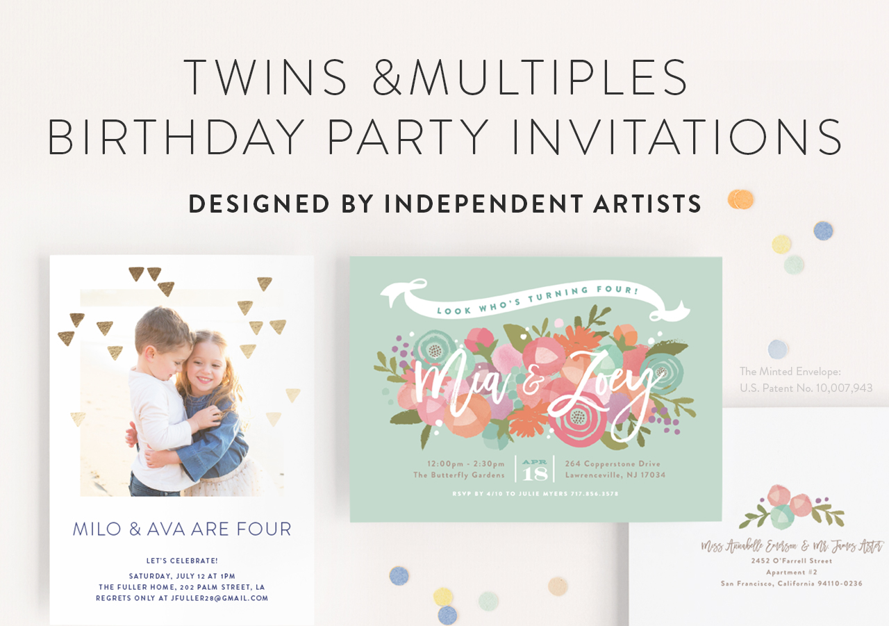 Twins Birthday Invitations